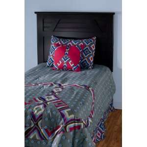 Blue and Gray Peace Kids Comforter Bed Set