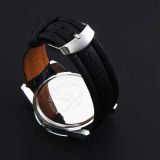 Wrist Watch with Black Leather Band Silver Analog Eye Face