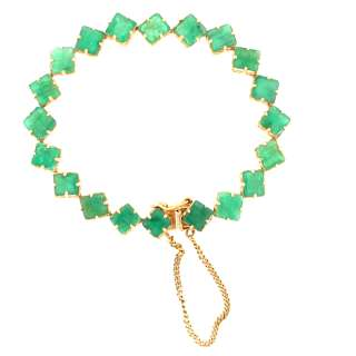 30.00ctw Princess Cut Emerald Ladies Bracelet 14k Gold