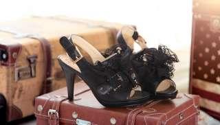 Lace Floral Buckled Platform Pump High Heels Slingbacks Sandals