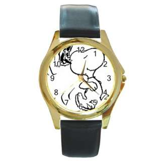SNOOPY DOG CARTOON CUTE Round Gold Wrist Watch Wemens