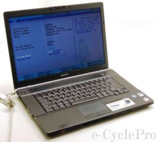 Sony VGN BZ560 15.4 Laptop  2.66GHz Core 2 Duo  3gb PC2 6400  80gb