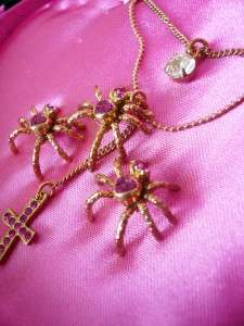 NIB Betsey Johnson Crystal Spider Necklace Earrings Set