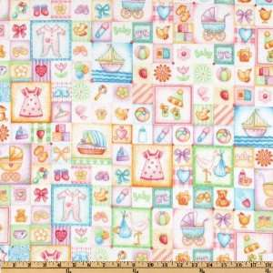 43 Wide Baby Girl Flannel Squares Pink Fabric By The