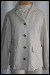 Linen / Cotton Blazer / Jacket LL BEAN Oatmeal  Sz 10P