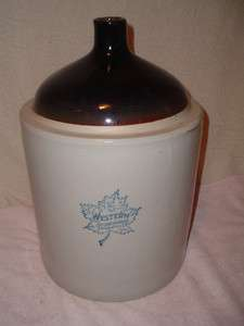 Antique 5 Gallon Stoneware Jug Western Blue Decorated Monmouth