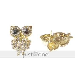 Lady Shiny Cubic Zirconia Golden Big Eye Owl Ear Stud Earrings