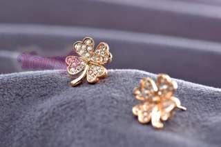 Multi Swarovski Crystal Four Leaf Clover Necklace Jewelry Set