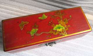 JB033 Leather & Wood & Copper Jewelry Box  red finished