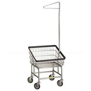 Wire Products Inc Front Load Laundry Cart w Single Pole at