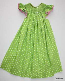 Mom & Me smocked angel wing bishop dress green pink polka dot poodle 3