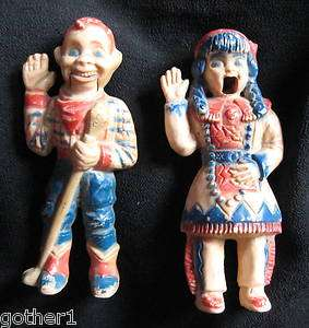 VINTAGE HOWDY DOODY AND INDIAN PRINCESS PUPPET DOLLS, HARD PLASTIC