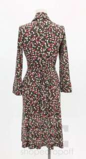 Diane Von Furstenberg Green, Black & Pink Cube Print Wrap Dress Size 6