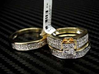 DIAMOND WEDDING INVISIBLE SET 14K YELLOW GOLD 3 PIECE/TRIO SETS