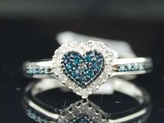 LADIES 10K WHITE GOLD BLUE .25C DIAMOND HEART LOVE RING