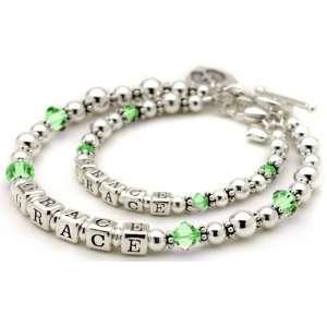 Peridot Crystal Personalized Mother & Child Birthstone Bracelets