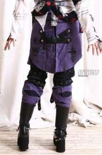 Men Goth Punk Mummy Spider Gear Pants Jean+Purple Sheild Pleated Skirt