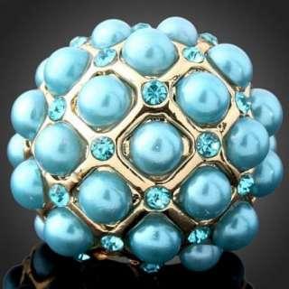 ARINNA Swarovski blue Crystal pearl Fashion Finger Ring