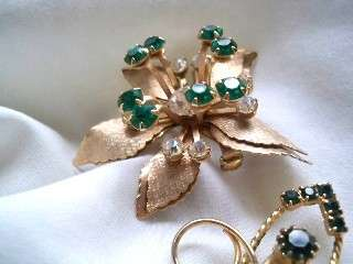 of 2 Emerald Green Rhinestone Brooches Leaf Starburst? Flower