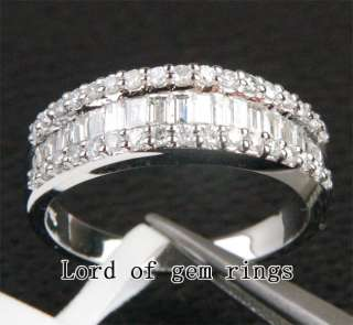 Round 1.12CT DIAMOND SOLID 14K WHITE GOLD WOMEN MENS WEDDING BAND RING
