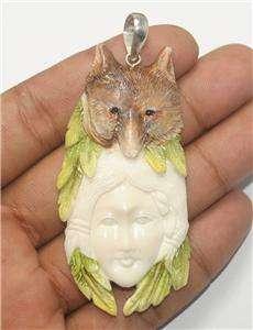 Spirit Totem Wolf Pendant 925 Carved Bovine Bone TT8 T5296