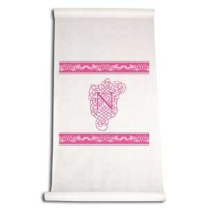 Aisle Runner, Fancy Font Letter N, White with Hot Pink: Home & Kitchen