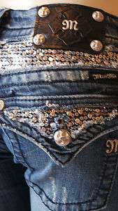 MISS ME JEANS SEQUINED BLING BOOT CUT JP6068B MK 24 C