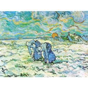 Oil Painting Two Peasant Women Digging in Field with Snow