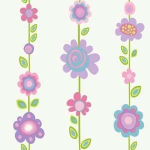 Floral Stripe Purple Wallpaper in Girl Power II: Home