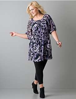 Plus size animal print chiffon tunic  Lane Bryant