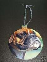 BOXER DOG CHRISTMAS TREE ORNAMENT NEW W/ SILVER RIBBON