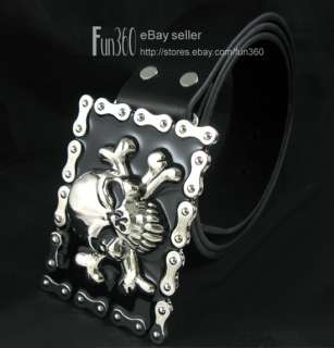 Bike Chain Skull Bone Mens Buckle Genuine Leather Belt