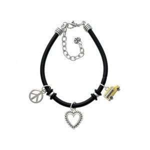School Bus   Side Black Peace Love Charm Bracelet Arts
