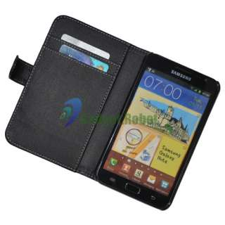 BLACK LEATHER HARD CASE COVER WALLET For Samsung Galaxy Note i9220