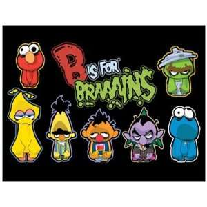 Magnet (Large): SESAME STREET ZOMBIES   B is for BRAINS