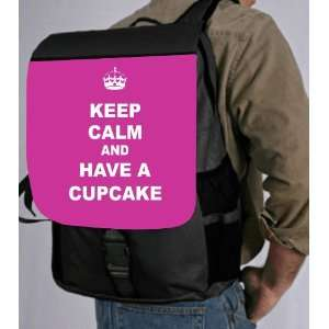 Keep Calm and have a Cupcake   Pink Rose Back Pack   School