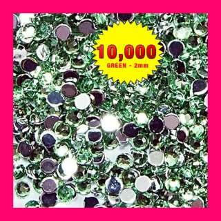 10000 pcs Nail Art 2mm Crystal Rhinestone Gems bead Decoration   Green