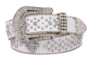 Ladies Western Rhinestone Fleur De Lis Croco Print Leather Belt
