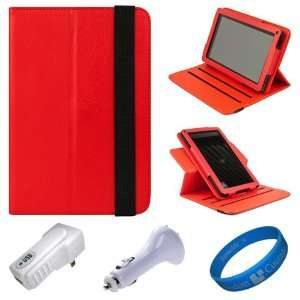 SumacLife Red Textured Leather Folio Case Cover with Fold to Stand