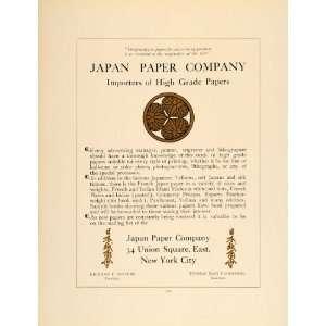 1907 Ad Japan Printing Paper Company Richard T. Stevens   Original