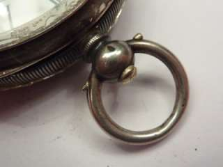 ANTIQUE SOLID SILVER OPEN FACE KEY WIND POCKET WATCH