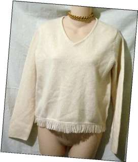EDDIE BAUER Womens Petite S V Neck Fringed Wool Sweater Top Off White