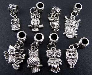 Wholesale Mix 100pcs Tibetan Silver Owl Dangle Beads Fit Charms