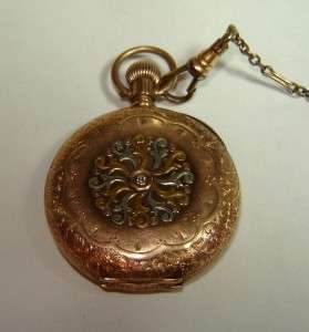 WALTHAM WATCH pocket Hunting 14K gold inlay~Diamond 1800s