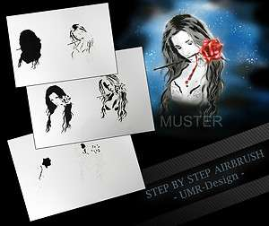 Airbrush Stencil Template 6 Steps AS 101 M Size 5,11 x 3,95