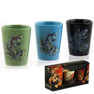 Licensed Don Ed Hardy Koi Fish Ceramic Shot Glass Set