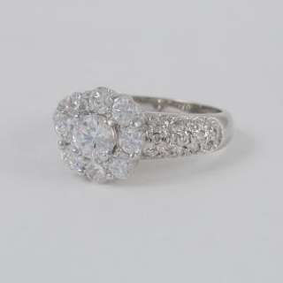 CARAT CZ CUBIC ZIRCONIA PAVE CLUSTER FLOWER RING