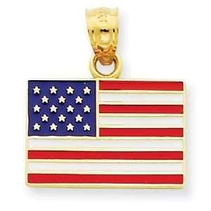 Enameled United States Flag Pendant in 14k Yellow Gold