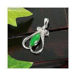 Perfect Gift   High Quality Elegant Jade Pendant with Diamond and 18K
