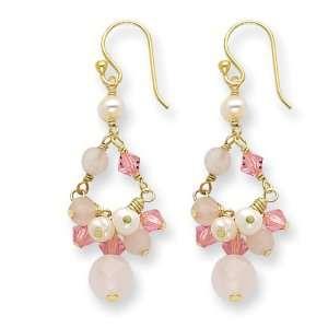 Sterling Silver & Vermeil Rose Quartz/Pink Crystal/Cultured Pearl